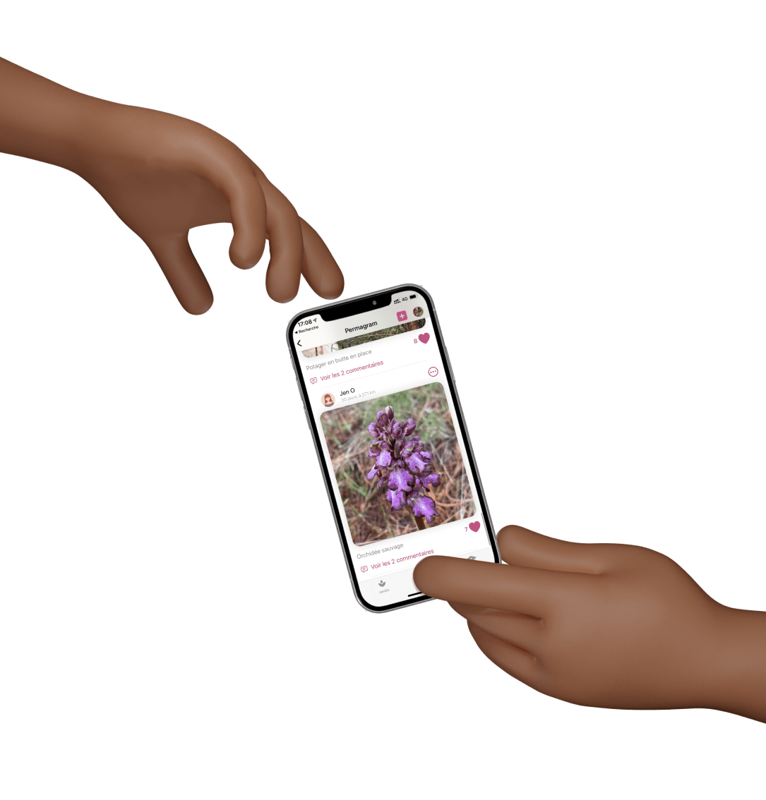 Mains tendues et smartphone 3D