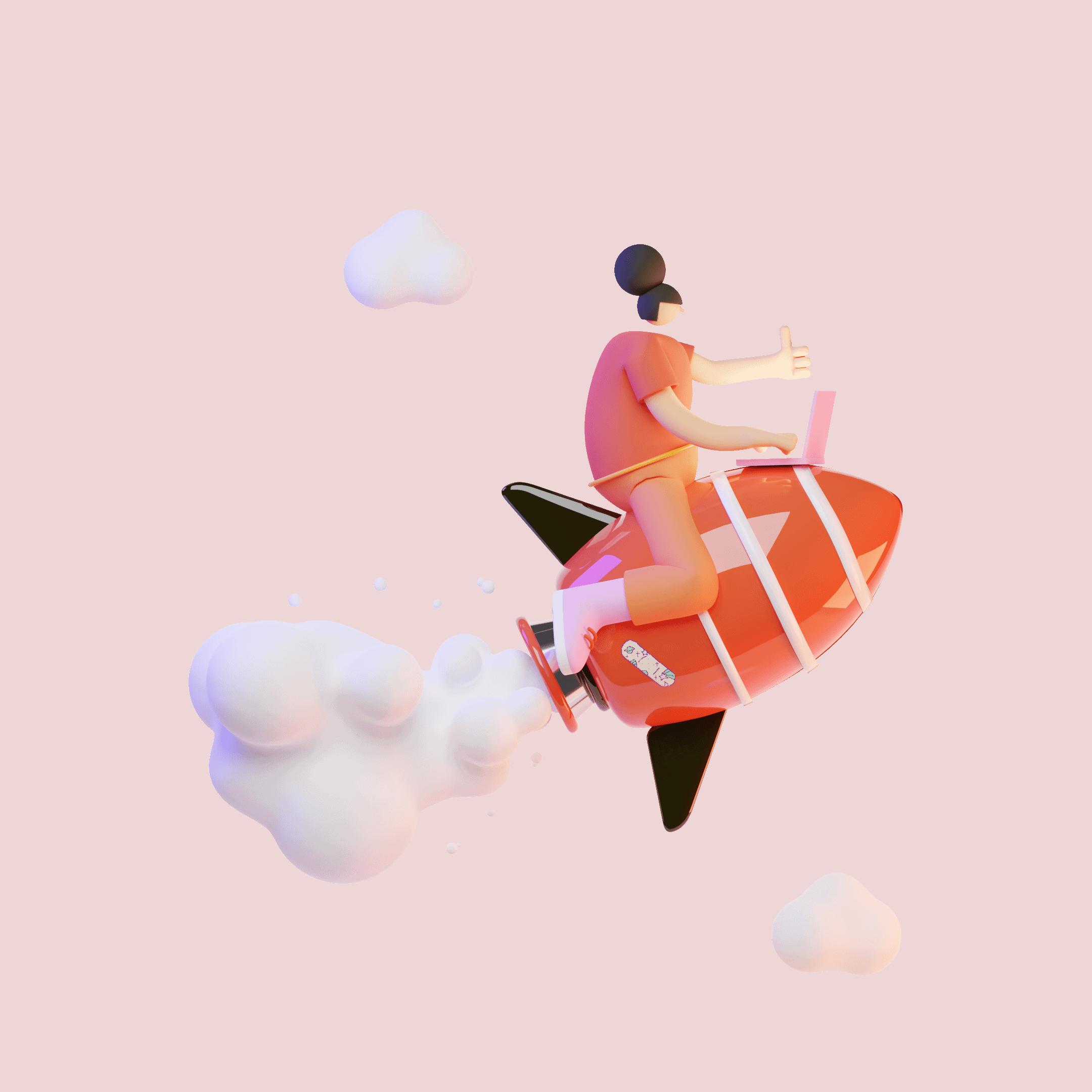 Fusée rouge 3D