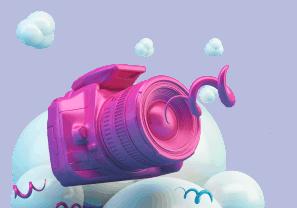 Caméra rose 3D